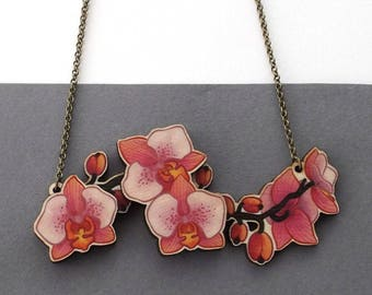 Laser Cut Pink Orchid Flower Statement Necklace, illustrated wood - Tropical Floral Plant Garden Summer Botanical Jewellery Birch Please