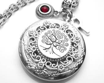Tree of Life Family Tree Locket Genealogy Antique Silver Necklace, Custom Birthstone & Initial, Handmade Jewelry, Family History, Ancestry