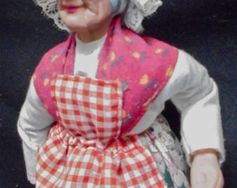 Vintage French Santon Doll, Milk Maid Senior Woman French Terra Cotta Art doll, France Folk Art