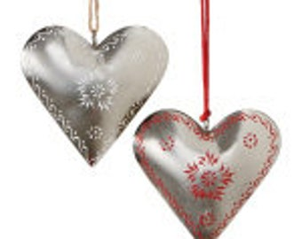 "6.25"" Alpine Chic /Country Rustic Style Silver and Red Floral Heart Valentine's Day Ornament/Wreath Supplies103816"
