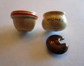 Hunny pot / with stoneware bowl.