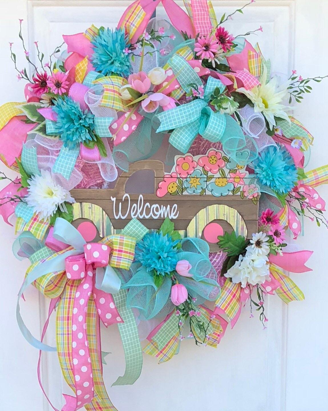 Spring wreath sassy door wreath welcome wreath spring door spring wreath sassy door wreath welcome wreath spring door wreath front door wreath wreaths pink truck wreath rubansaba