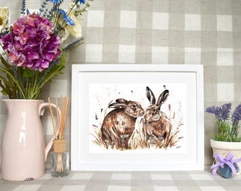 Limited edition 'Spring hares' print