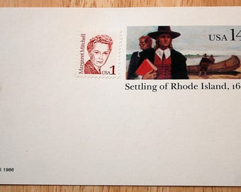 Mint USPS Stamped Postcards--Scott #UX112--Settling Of Rhode Island, 1636--14c--Margaret Mitchell--Scott #2168--1c--1986--Shipping Included