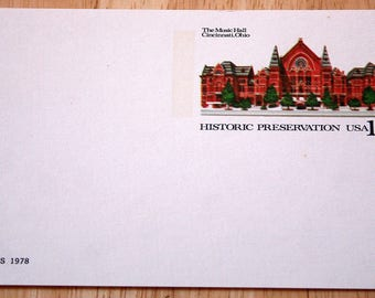 8 Mint USPS Stamped Postcards--Scott #UX73--Historic Presrvation: The Music Hall, Cincinnati, Ohio--10c--1978--Shipping Included