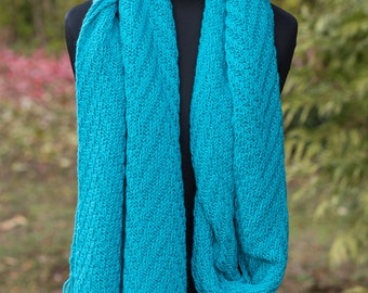 Extra long knit scarf, wool winter scarf, turquoise oblong scarf, soft & cozy wool knitted oversized scarf, knitted bright warm scarf