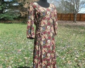 Vintage MIDI DRESS, 80s Boho Secretary, Autumn Burgundy Floral Print Wine Red Tan Cream flowers,  corset laced back, Retro feminine grunge