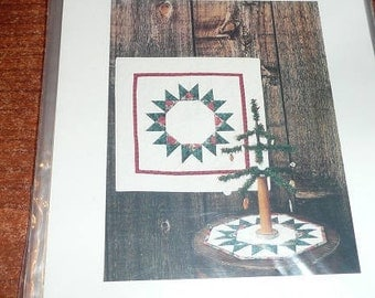 Vintage Star Wreath Plum Creek Patchwork Wall Quilt ,Table Topper, Tree Skirt Pattern