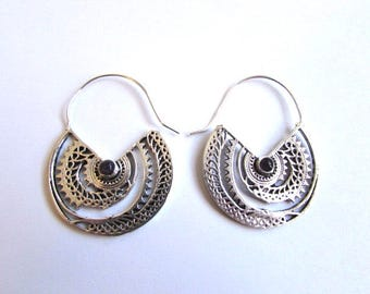 White Brass Amethyst Gemstone Hoop Earrings Tribal Earrings Mandala Jewellery Free UK Delivery Gift Boxed
