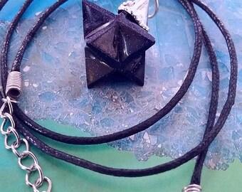 Blue GOLDSTONE Sun Sitara 3D MERKABA Star PENDANT with Silver Top, Sacred Geometry Necklace, With Hemp Chain
