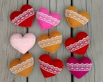 Felt Heart Ornament/ Christmas Ornaments/ Heart Ornament with Lace/ Handmade Ornaments