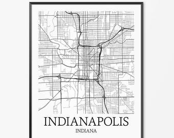 Indianapolis Map Art Print, Indianapolis Poster Map of Indianapolis Decor, Indianapolis City Map Art, Indianapolis Indiana Art Poster Gift