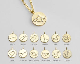 Zodiac Constellation Necklace Cubic Zirconia Crystal Necklace Disc Necklace Celestial Jewelry Libra Scorpio Sagittarius Birthday Gift - ZCCN