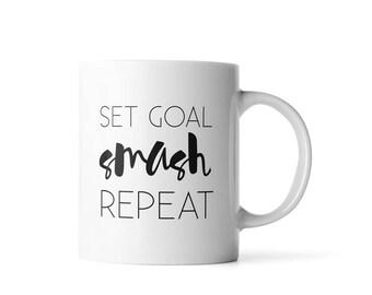 Set Goal Smash Repeat Mug | Graduation Gift for Her | Motivational Mug | Motivational Quote Mug | Home Office Decor | College Grad Gifts