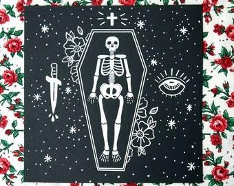 Memento Mori Art Print, 21 cm x 21 cm Print, Skeleton Print