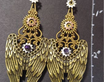 Antique Bronze Wings; Steampunk Inspired