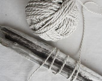 Braided linen flax rope Pure Natural linen 5 yards Decorative Gray white string Macrame DIY craft projects Sewing supplies Gift wrapping