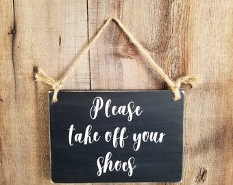 Please Take Off Your Shoes Wood Sign. Shoes Off Sign, Shoes Off Wood Sign