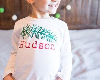 Pine Branch Christmas Shirt for Kids - Christmas Shirt for Boys - Woodland Christmas - Christmas Photos Outfit - Hipster Christmas Shirt