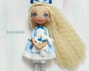 Alice in wonderland Customized Dolls Alice Ragdoll Textile dolls Cloth dolls Interior dolls Art dolls Birthday Gifts for daughter Soft toy