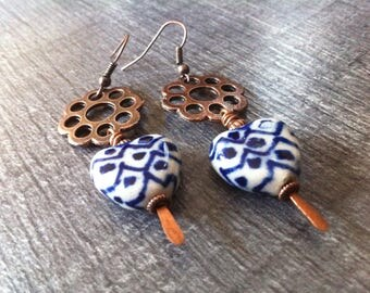 earrings, copper and Pearl White and Blue ceramic heart