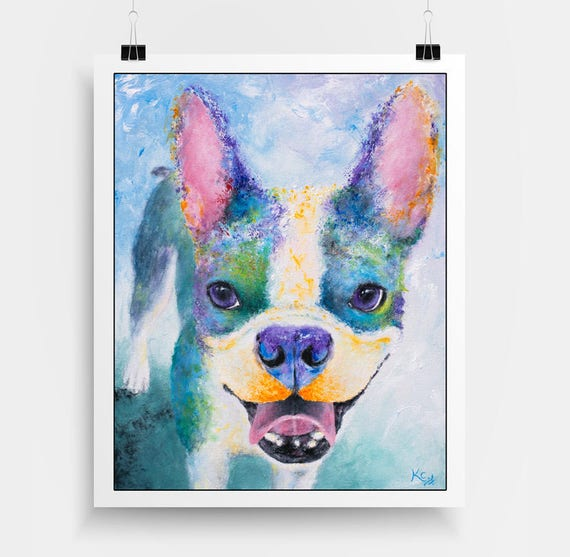 Boston Terrier Art Print - Boston Terrier Gift, Boston Terrier Print, Dog Art Print.