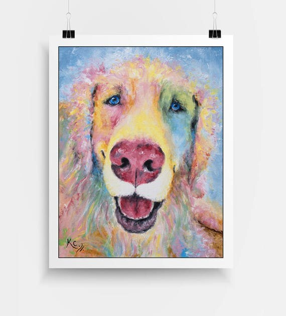 "Golden Retriever Art Print - Golden Retriever Gifts, Dog Lover Gift, Dog Gift, Dog Art, Dog Print. Print of My Dog Painting ""Billy""."