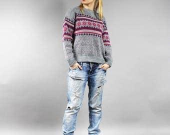 Vintage Gray Fair Isle Sweater . Purple Geo print Wool Pullover . Boho Folk Print Norwegian Knit Sweater .  Icelandic Striped Sweater S / M