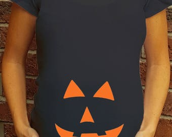 Pumpkin Face Halloween Black Maternity Shirt Personalized cute little ghosts trick or treat announcement tshirt Ruched or regular triangle