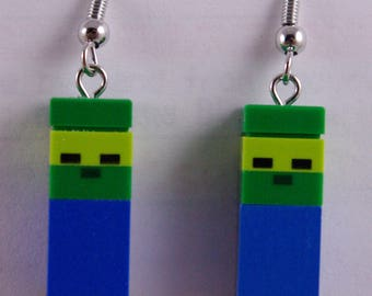 Minecraft Micro Zombies Dangle Earrings Handmade from Lego and Mega Bloks