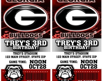12 PER PACK Birthday Party Invitations Card Georgia Bulldogs Birthday Ticket Invitation NFL Football Weddings Baby Showers Bar Mitzvahs