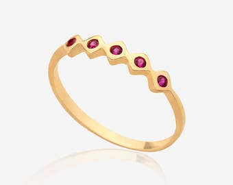 Stacking ruby gemstone ring 14k Gold Fill simple everyday ring july birthstone ring