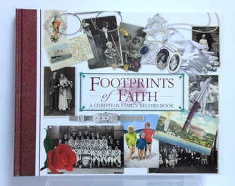 Footprints of Faith Christian Family Record Book, Vintage Family History Biography Album, Story or Diary for You to Complete Family Journal