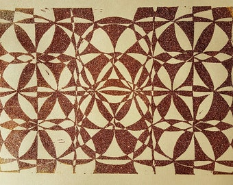 Geometric linoprint in embossed copper