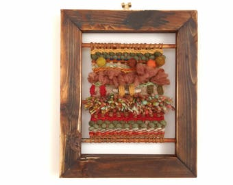 Handwoven tapestry wall hanging // framed // textile art