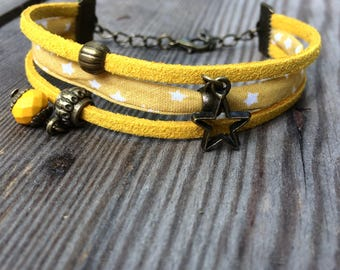 Triple bracelet bronze and yellow fabric stars and suede