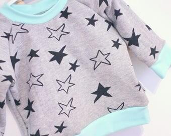 Sweater - 6 months - stars & blue - long sleeve / raglan
