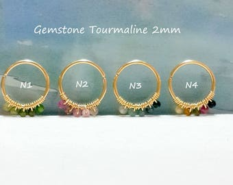 Gemstone Tourmaline 2mm Helix Piercing- Gold Cartilage Earring- Tiny Silver Conch Hoop - 16-22 Gauge- 7-12mm Inner Diameter