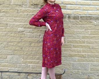 60s mod dress, 1960s scooter Dress, Vintage Shift Dress, Pink Paisley Print, Mad Men, Edie Sedgwick, Twiggy , 1960s Mod Dress 10 12