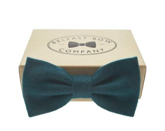 Handmade Wool Blend Bow Tie in Petrol Blue Dark Teal - Adult & Junior sizes available