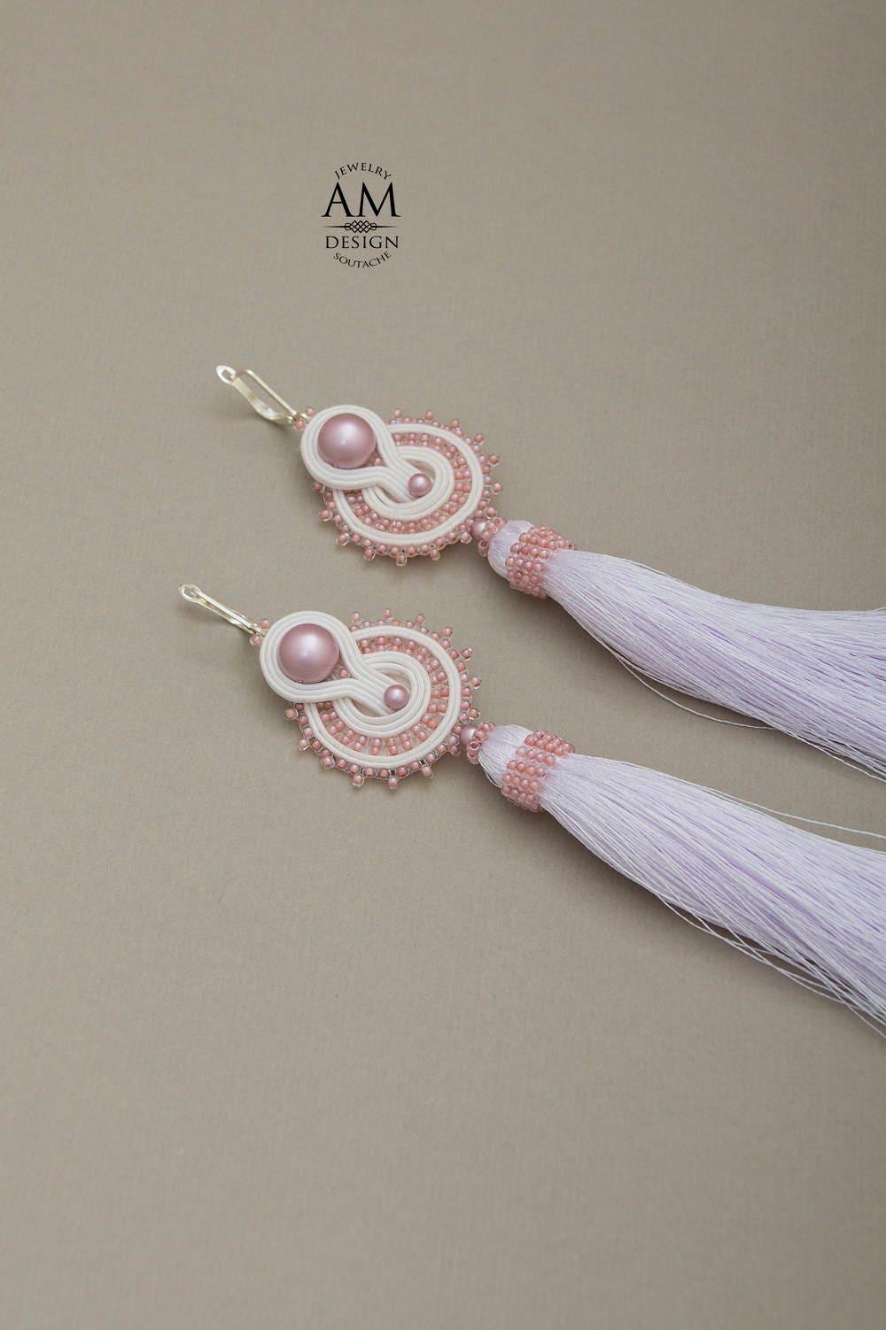 Chandelier earrings earrings jewelry wedding chandelier earrings pink wedding earrings for bride pink pearl earrings white tassel earrings wedding soutache arubaitofo Choice Image