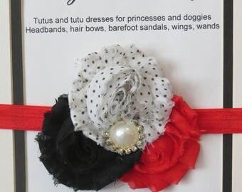 Red, black and white shabby flower headband