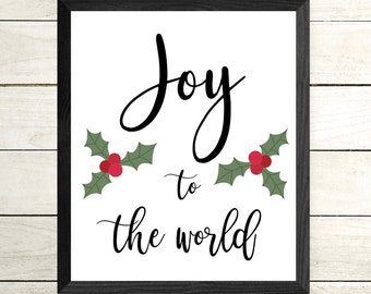 Joy to the World Framed Print - Christmas Art - Framed Poster - Christmas Decor - Xmas Decorations - Santa Decor - Joy Quote - Inspirational