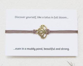 Wish bracelet, yoga bracelet, lotus jewelry, lotus bracelet