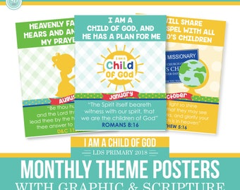 2018 LDS Primary Monthly Theme Posters - I am a child of God - Sun Theme - MB
