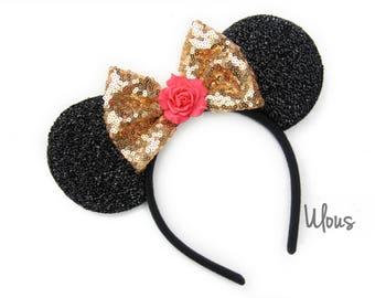 Beauty and the Beast Ears, Belle Mickey Ears, Beauty and the Beast Mickey ears, Belle Minnie Ears, Rose Mickey Ears, Flower Mickey Ears