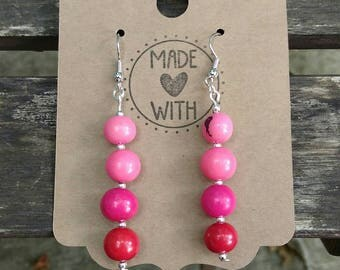 Pink Ombre Acai Seed Earrings ~ Pink Beaded Jewelry ~ Shades of Pink Earrings ~ Acai Bead Jewelry ~ Sustainable Eco Friendly Products ~ Pink
