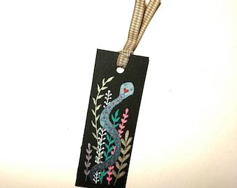 Handpainted Bookmark of Love Patterned Snake Among Leaves