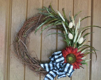 Front Door Wreath, Rustic Wreath, Fall Wreath