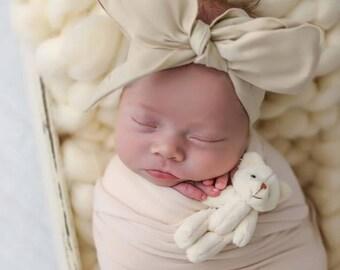 SEASHELL Gorgeous Wrap- headwrap; fabric head wrap; ivory head wrap; boho; newborn headband; baby headband; toddler headband